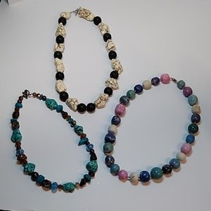 Jewelry - Lot of 3 marbled rock necklaces